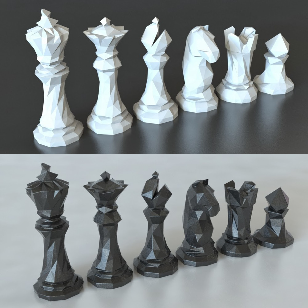 Faceted Chess Set Pinshape Chess Set 3d Printer Designs Chess