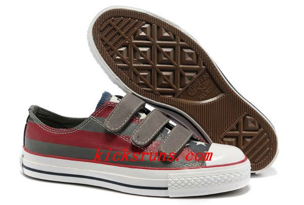 4e4343b2865 2012 Converse American Flag All Star 3 Strap Velcro Grey Red Painted Low  Tops Canvas