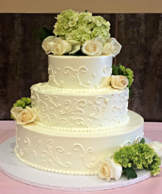 Gluten Free Buttercream Wedding Cake with Scrollwork, Green ...