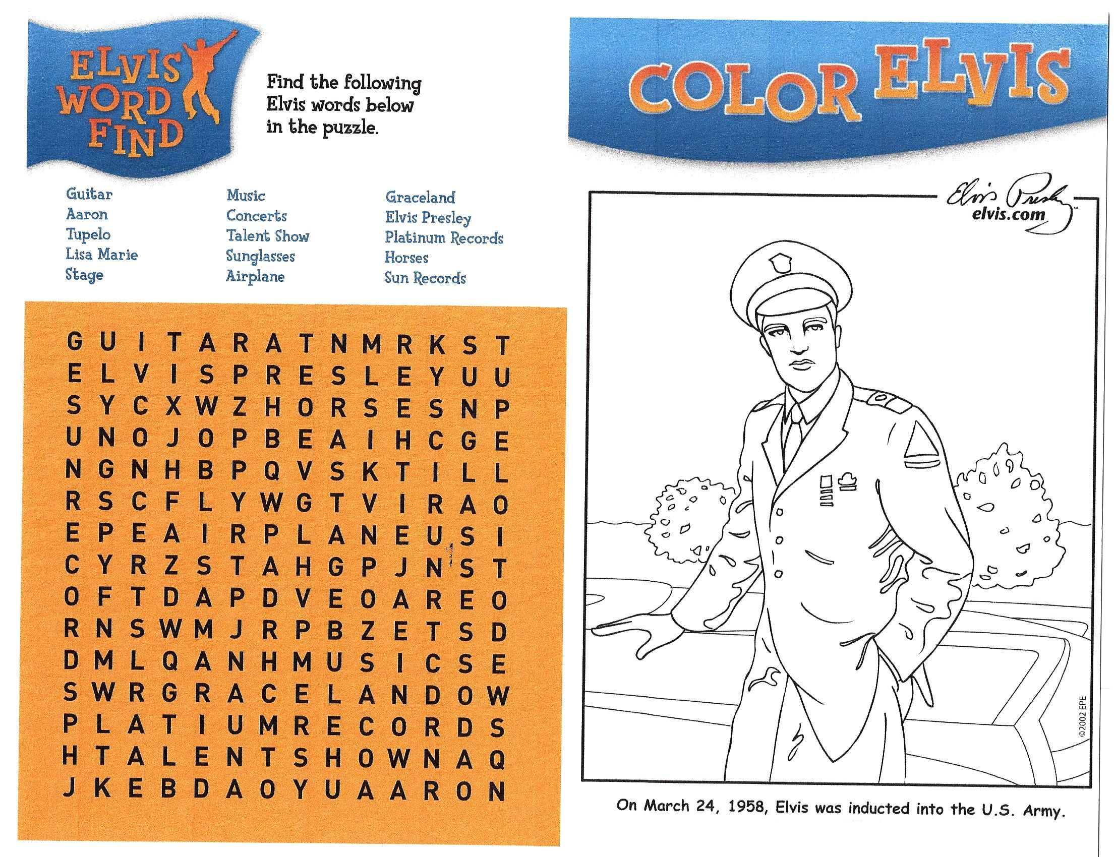 Color Elvis And Elvis Word Search K 5 Visual Art And
