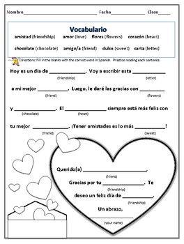 spanish valentine worksheet teaching spanish classroom spanish worksheets teaching spanish. Black Bedroom Furniture Sets. Home Design Ideas
