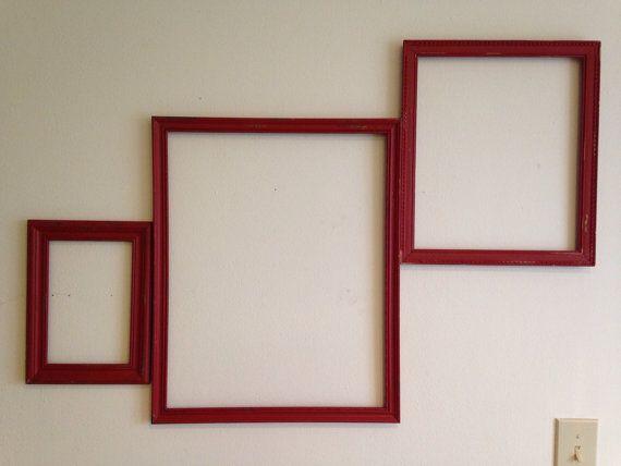 Set Of Three Red Rustic Frames 19 1 2 X 15 1 2 13 1 2 X 11 1 2 9 X 5 1 2 On Etsy 27 99 With Images Rustic Frames Frame Rustic