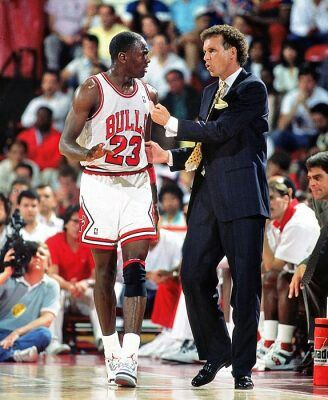 Michael Jordan and Coach Doug Collins