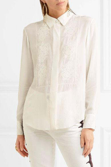 6316a5bbb83c6e Chloé - Embroidered Silk Crepe De Chine Shirt - Ivory | Products ...