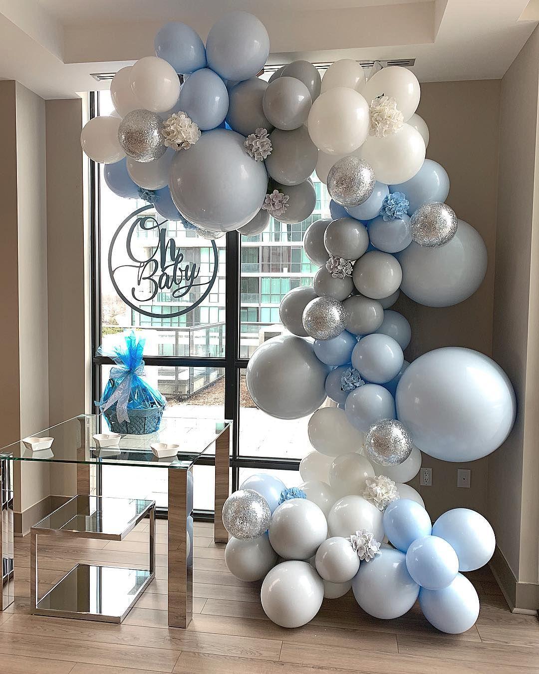 "Balloons by Dina on Instagram: ""Love the simplicity of this elegant setup.  Balloons @balloonsbydina . . . . . .  #balloongarland #balloondecor #babyshower…"" #winterwonderlandbabyshowerideas"