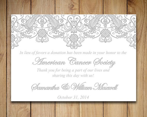 Lace Wedding Favor Donation Card Template - Wedding Charity Favor - donation card template
