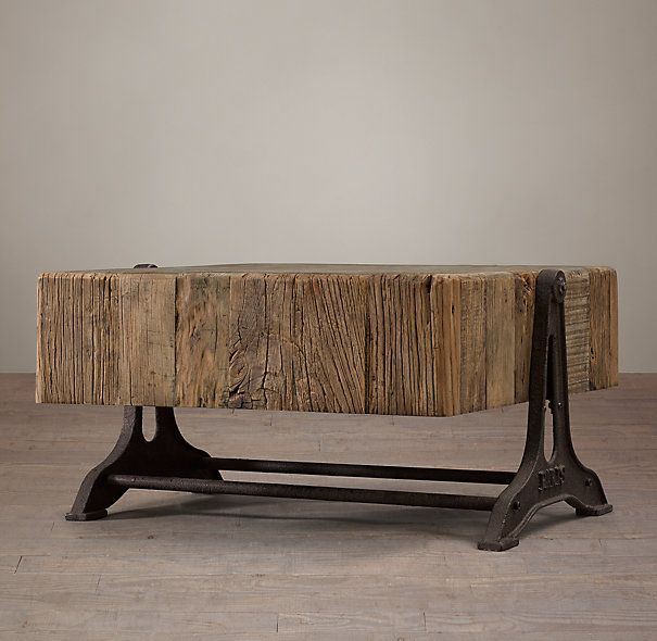 Young Industrial Coffee Table: Reclaimed Russian Pine Industrial Coffee Table