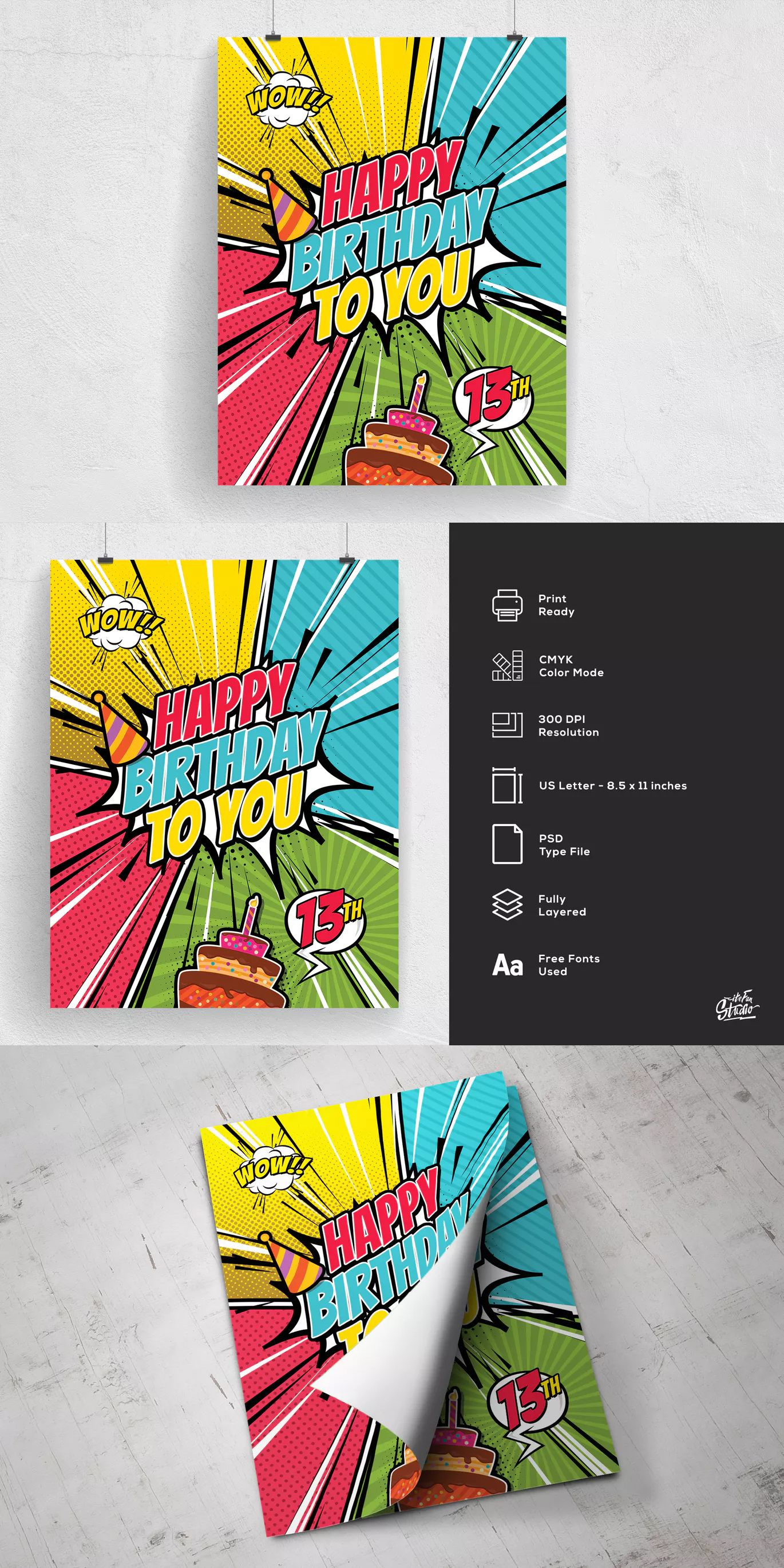 Comic Style Happy Birthday Flyer Template Psd Us Letter