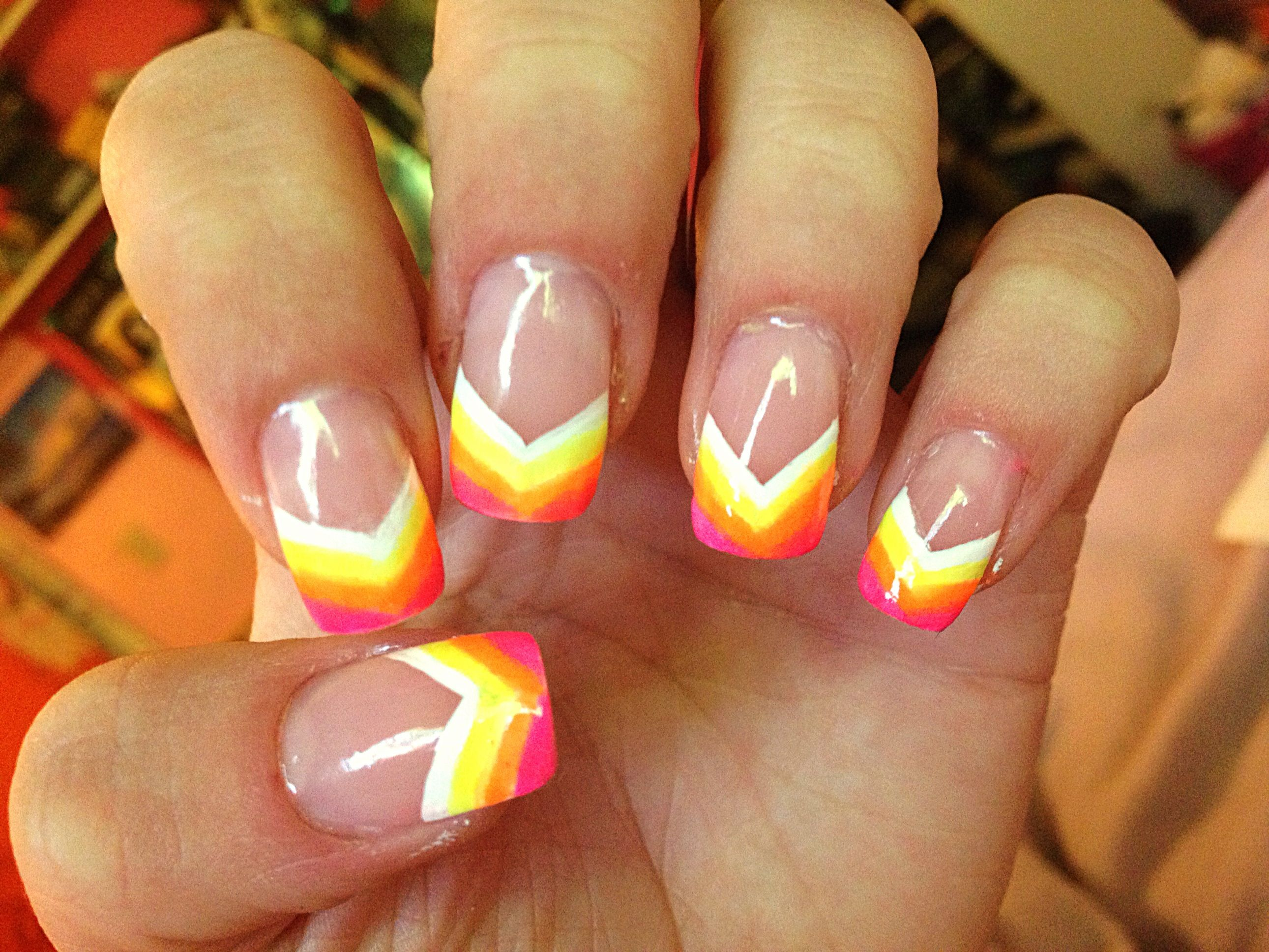 Neon Rainbow Painted Nail Tips Acrylic Design Art Great For The Summer