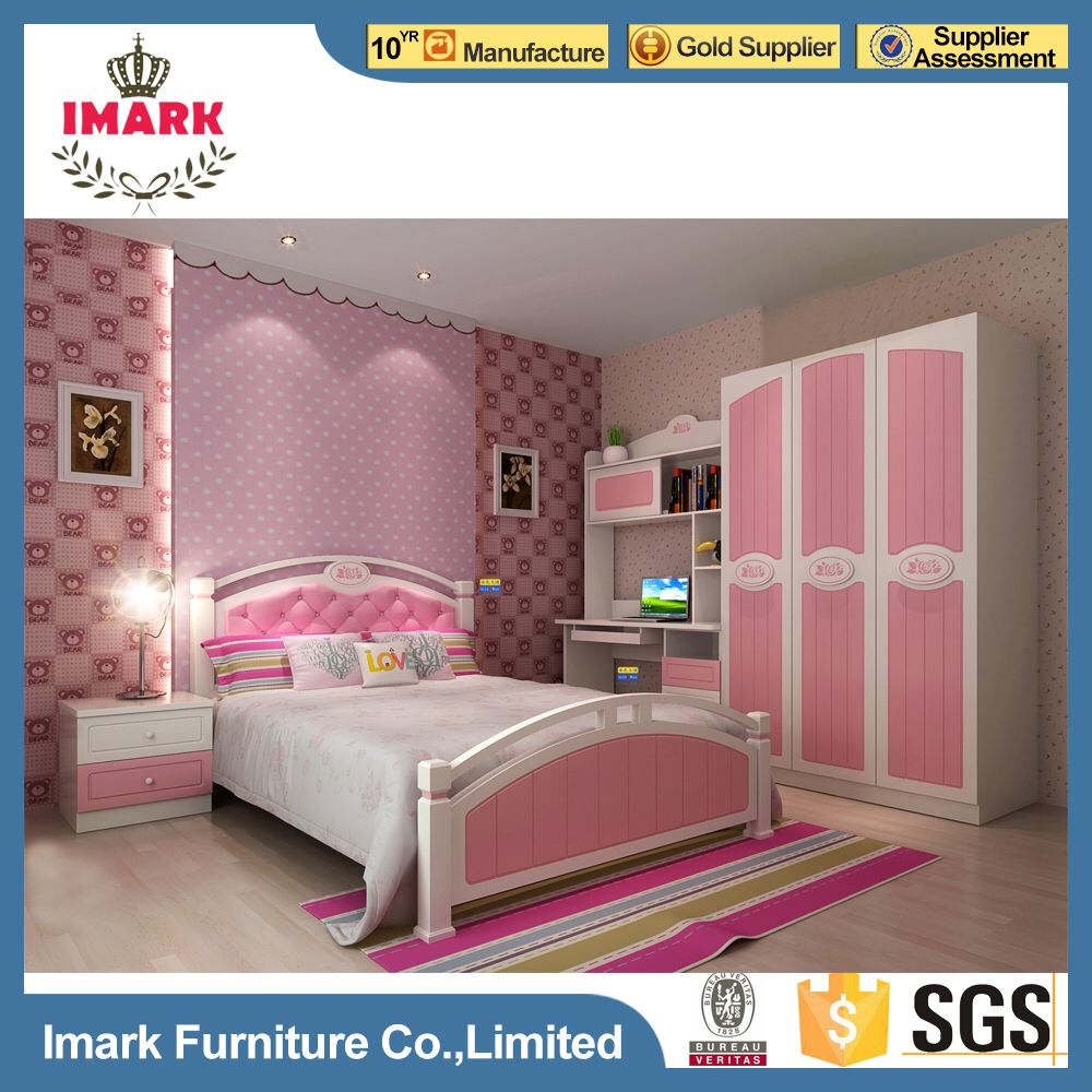 Pink Sweety MDF High Gloss Painting Finish Kids Beds Girls Bedroom - High gloss bedroom furniture sale