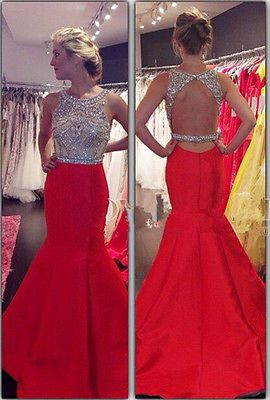 5d13a19255 2015 Red Mermaid Chiffon Crystals Evening Dresses Sequin Backless Long Prom  Gown