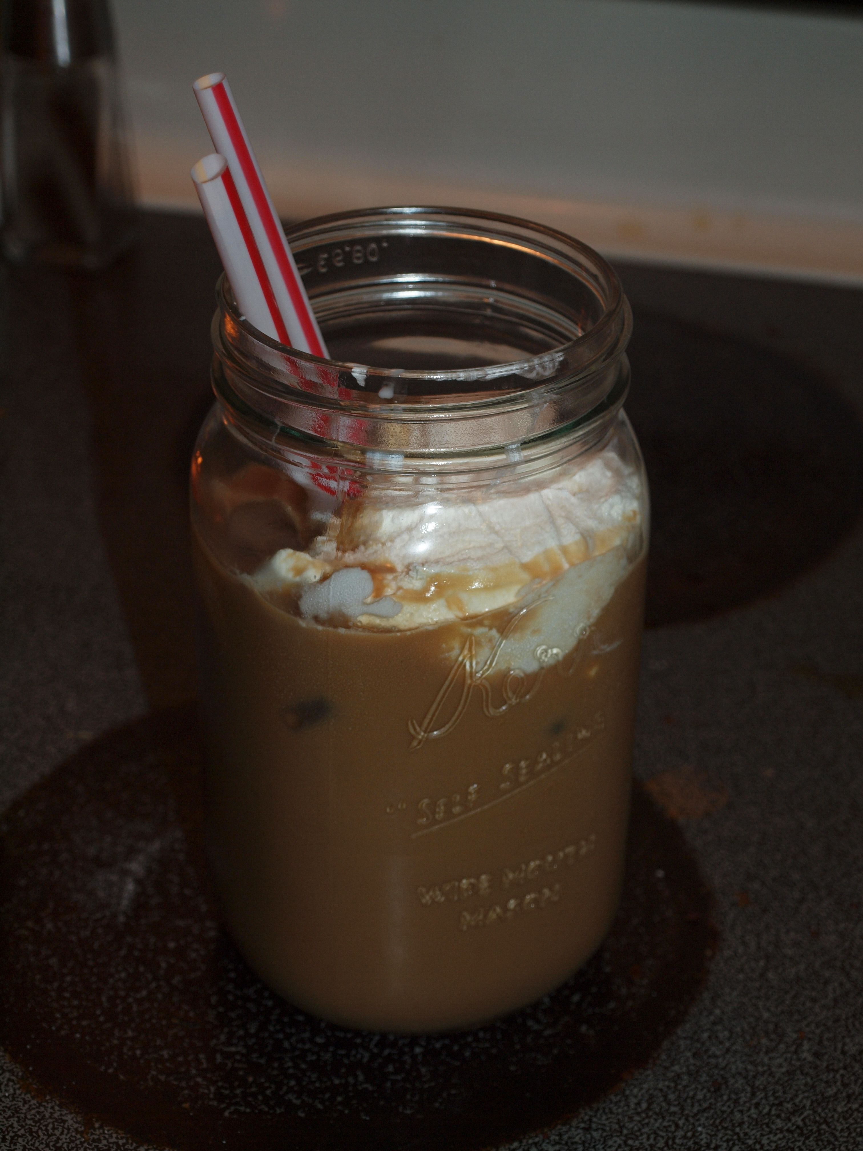 iced coffee 12oz cold water, 2T instant coffee, sugar and