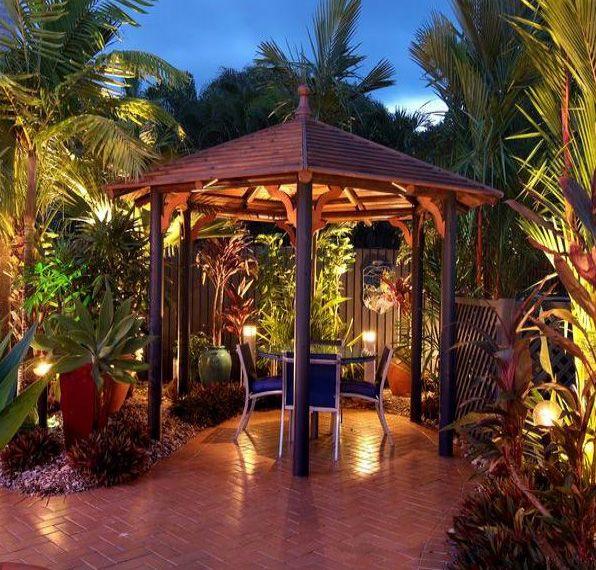 Tropical Backyard Ideas Australia: Simple Gazebo Design Classic Style In Narrow Area Romantic