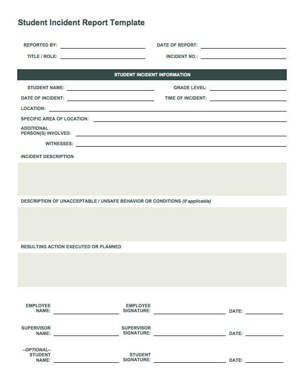 Free Incident Report Templates Smartsheet KET Pinterest - accident report template