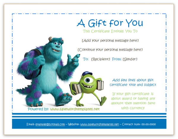 Monster University Gift Certificate  Gift Certificate Templates