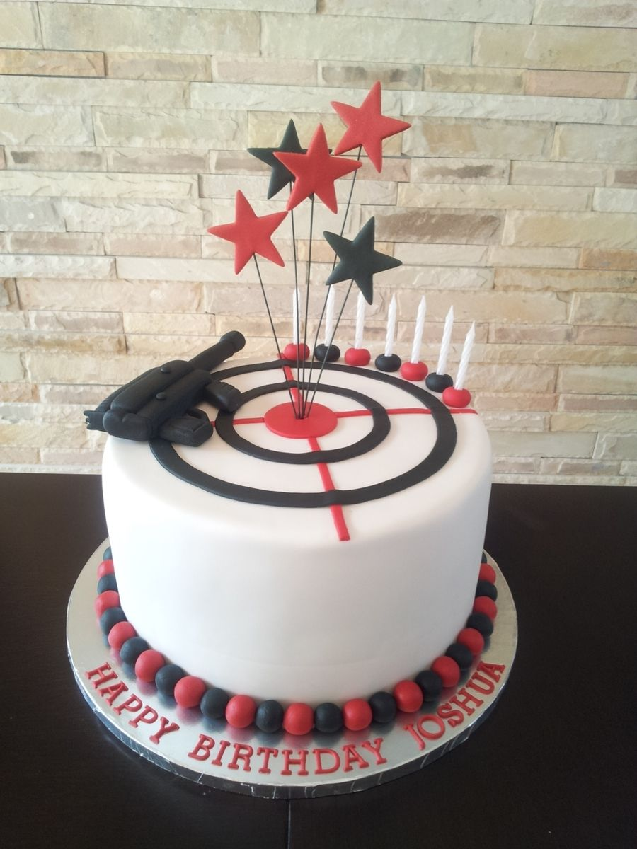 Laser Tag Themed Boy S Birthday Cake With Images Boy Birthday