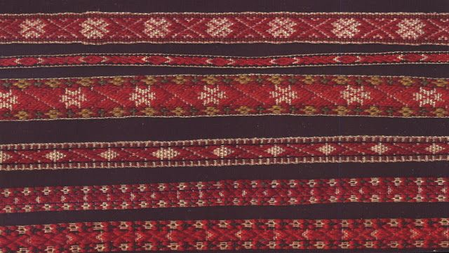 """""""Attached to the apron is a narrow inkle-woven band, which wraps around and is tied or buckled in front  with the ends hanging down. It finishes the waistline like a sash, and has a design woven into it. Similar sashes are woven and worn by many of the peoples of Northern Europe."""""""