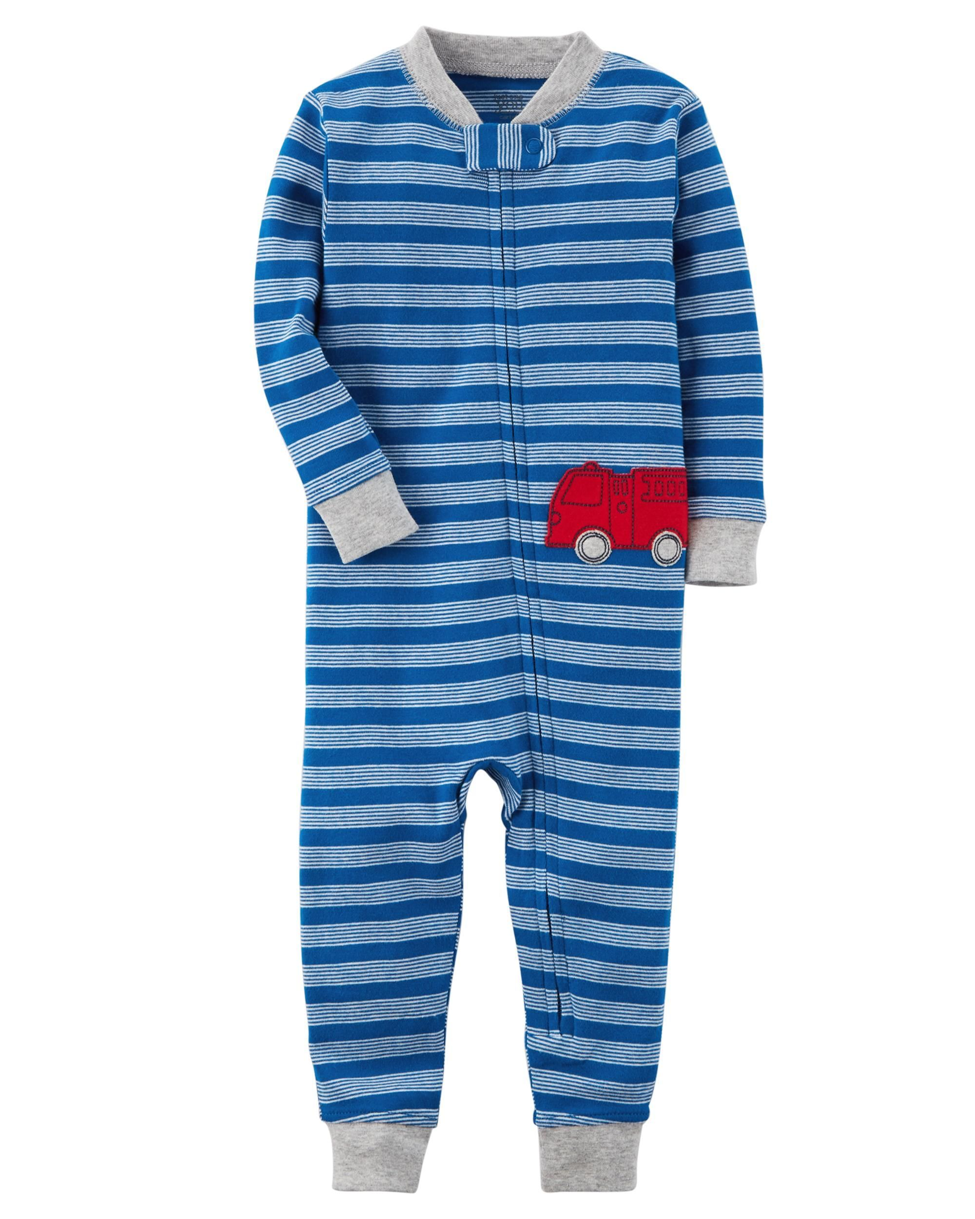 1017b88df 1-Piece Certified Organic Snug Fit Cotton Footless PJs