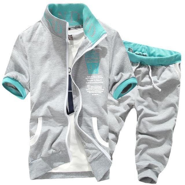 AmberHeard Tracksuits Mens Set 2017 Summer Sportswear Men Shorts Set Short  Sleeve Sweatshirt+Pants Sporting Suit Sweatsuit 2PC 743ae1925