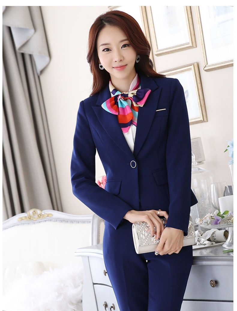 Spring Autumn Fall Black Blue Uniform Styles Formal Blazers Suit Women Jackets Coat Office Ladies Work Wear Tops Clothes Blaser Soft And Light Suits & Sets Blazers