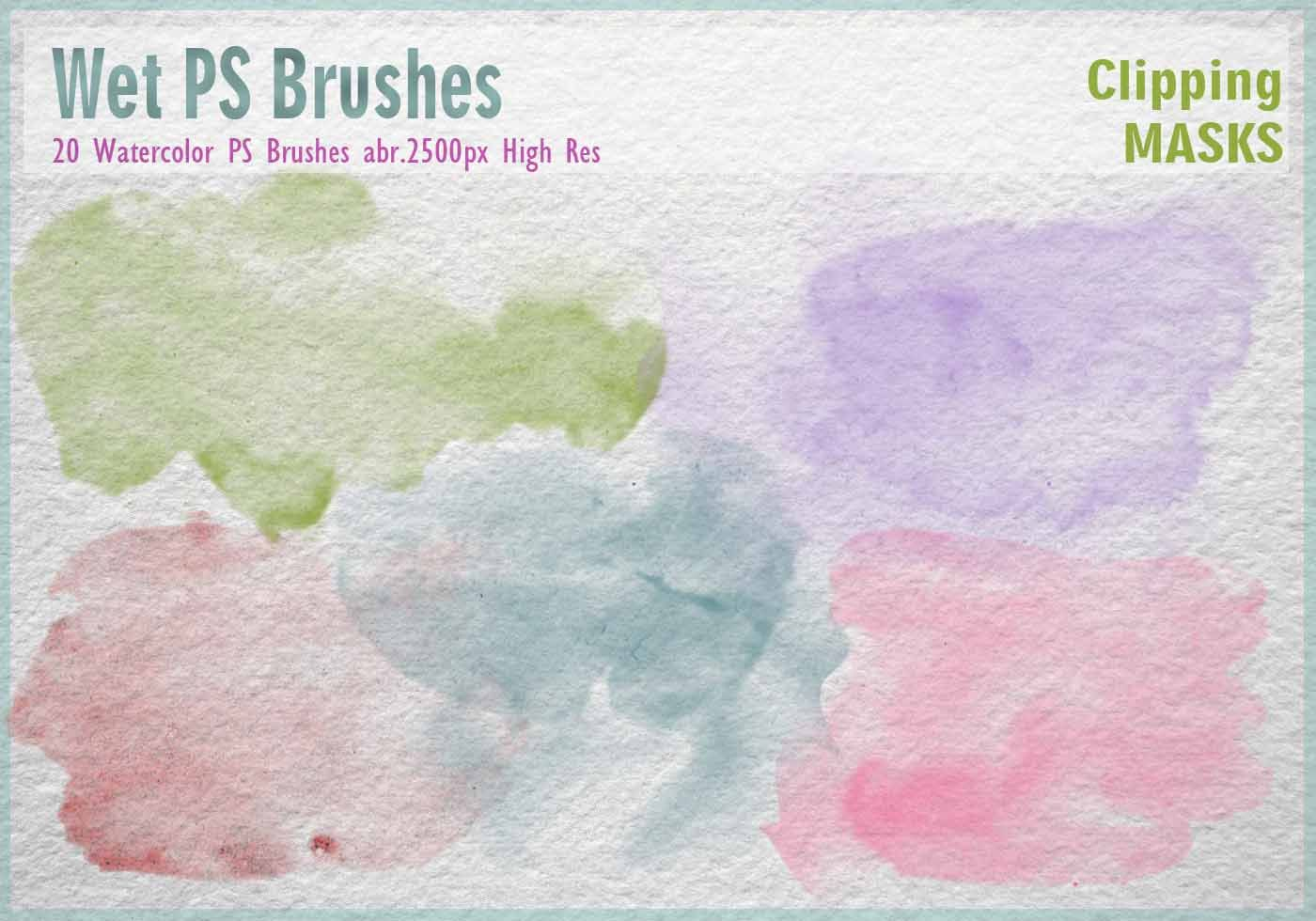 20 Watercolor Mask Ps Brushes Abr 2500px High Res Wet Grunge