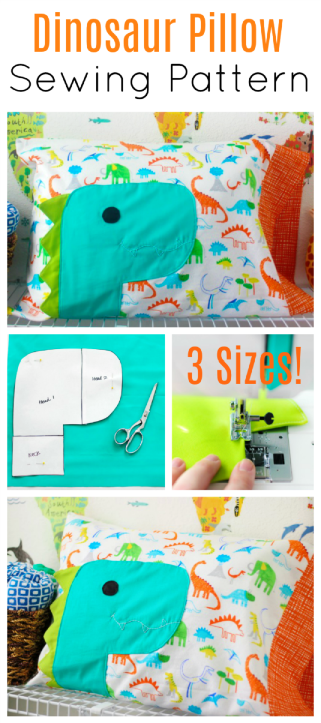 Dinosaur Pillowcase Pattern in 3 Sizes for Kids and Adults #beginnersewingprojects