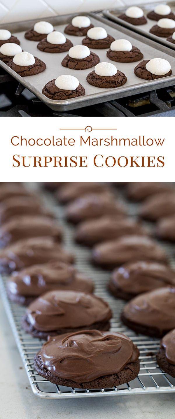 Chocolate Marshmallow Surprise Cookies #chocolatemarshmallowcookies