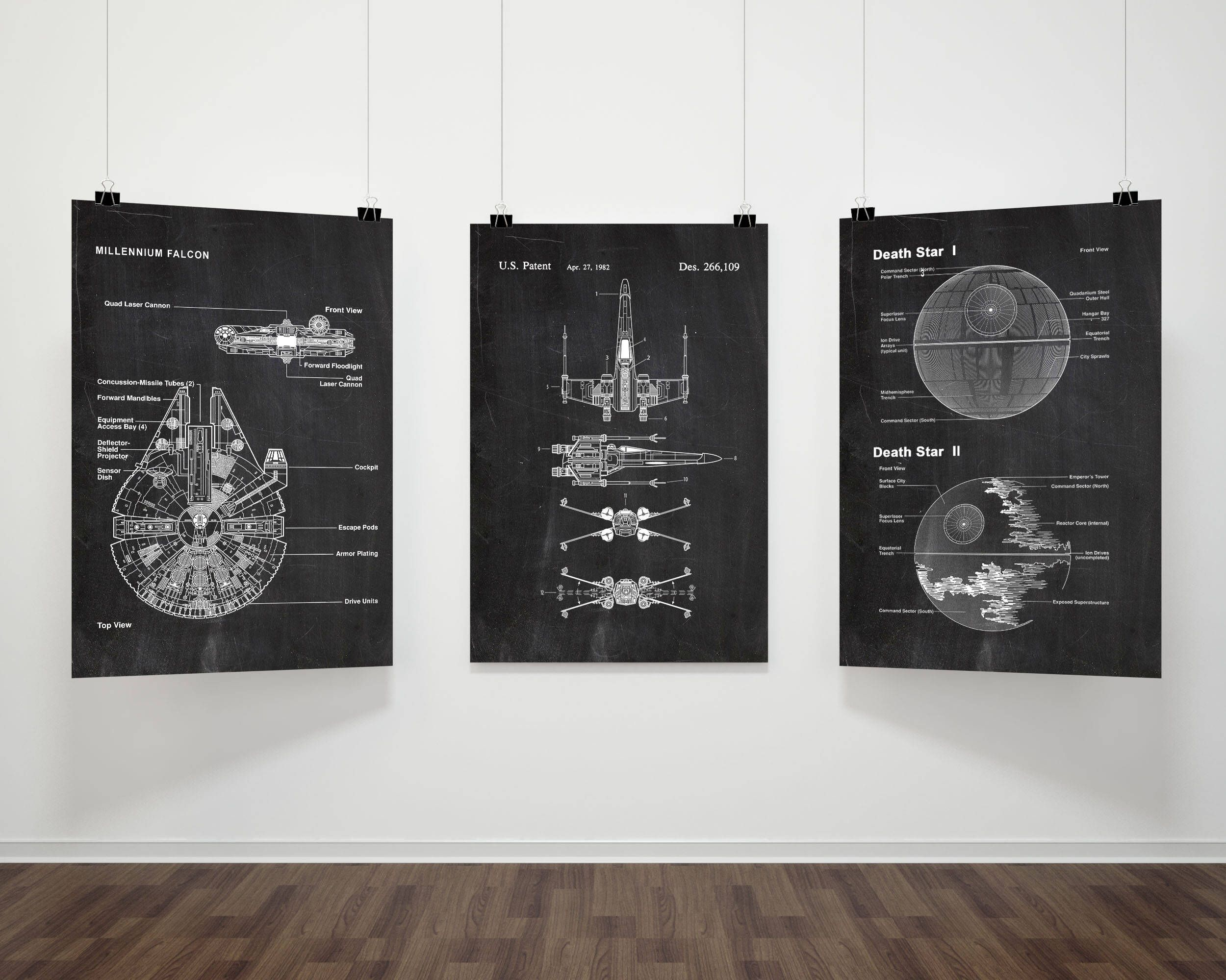 Star wars patent prints set of 3movie print millennium falcon star wars patent prints set of 3movie print millennium falcondeath starx wing chalkboardblueprintwall artspace poster p231 malvernweather Image collections