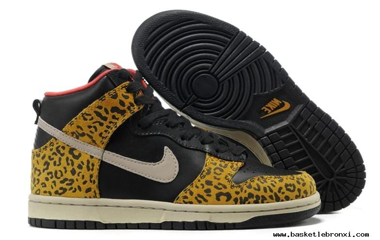 huge discount 3755d 6ed42 Womens Nike Dunk High Skinny Leopard Black Sandtrap Dark Gold Leaf Sunburst  Skateboarding Shoes For Wholesale