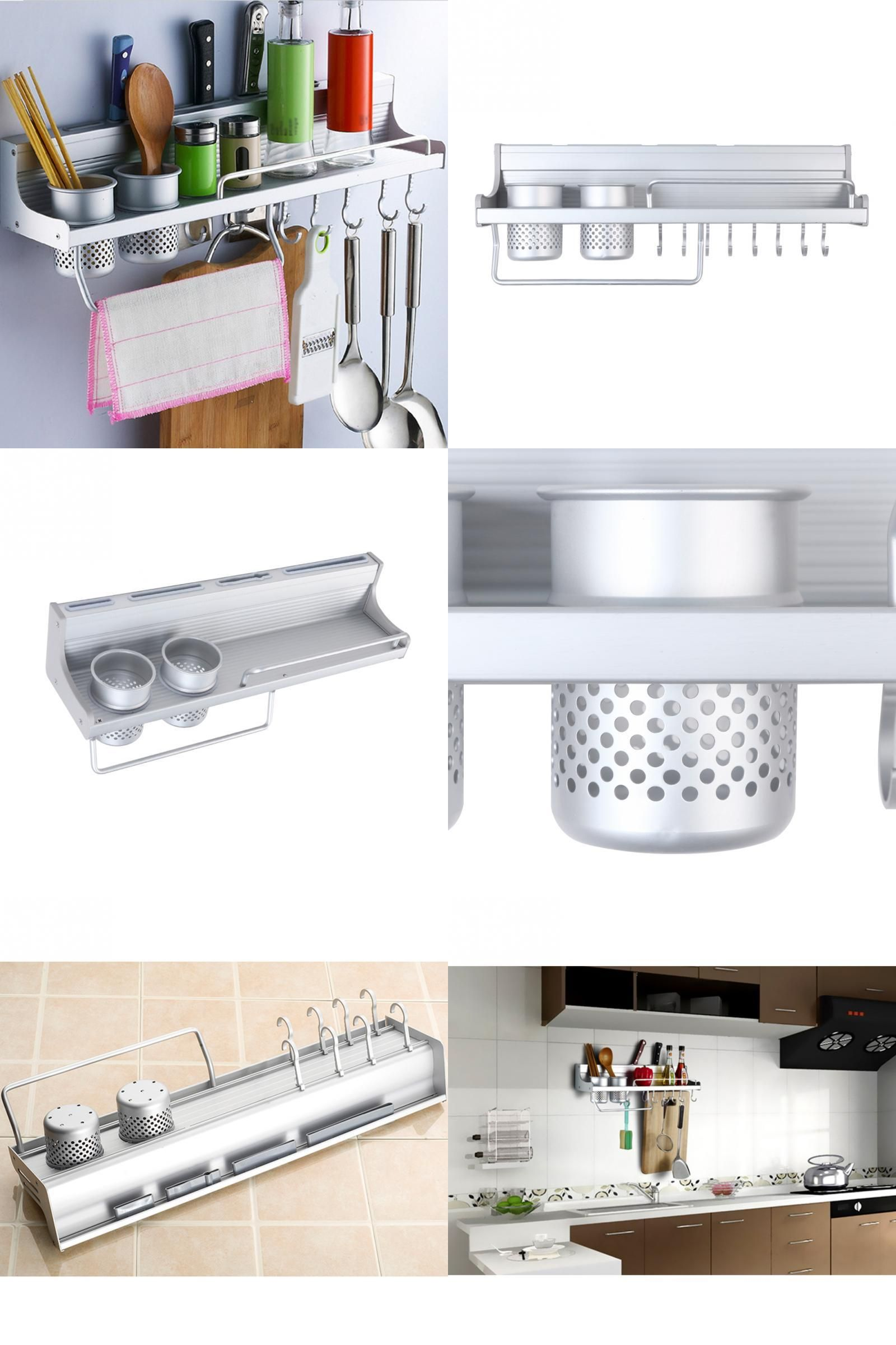 Visit to Buy] Space Aluminum Kitchen Shelf Wall Mount Spice ...