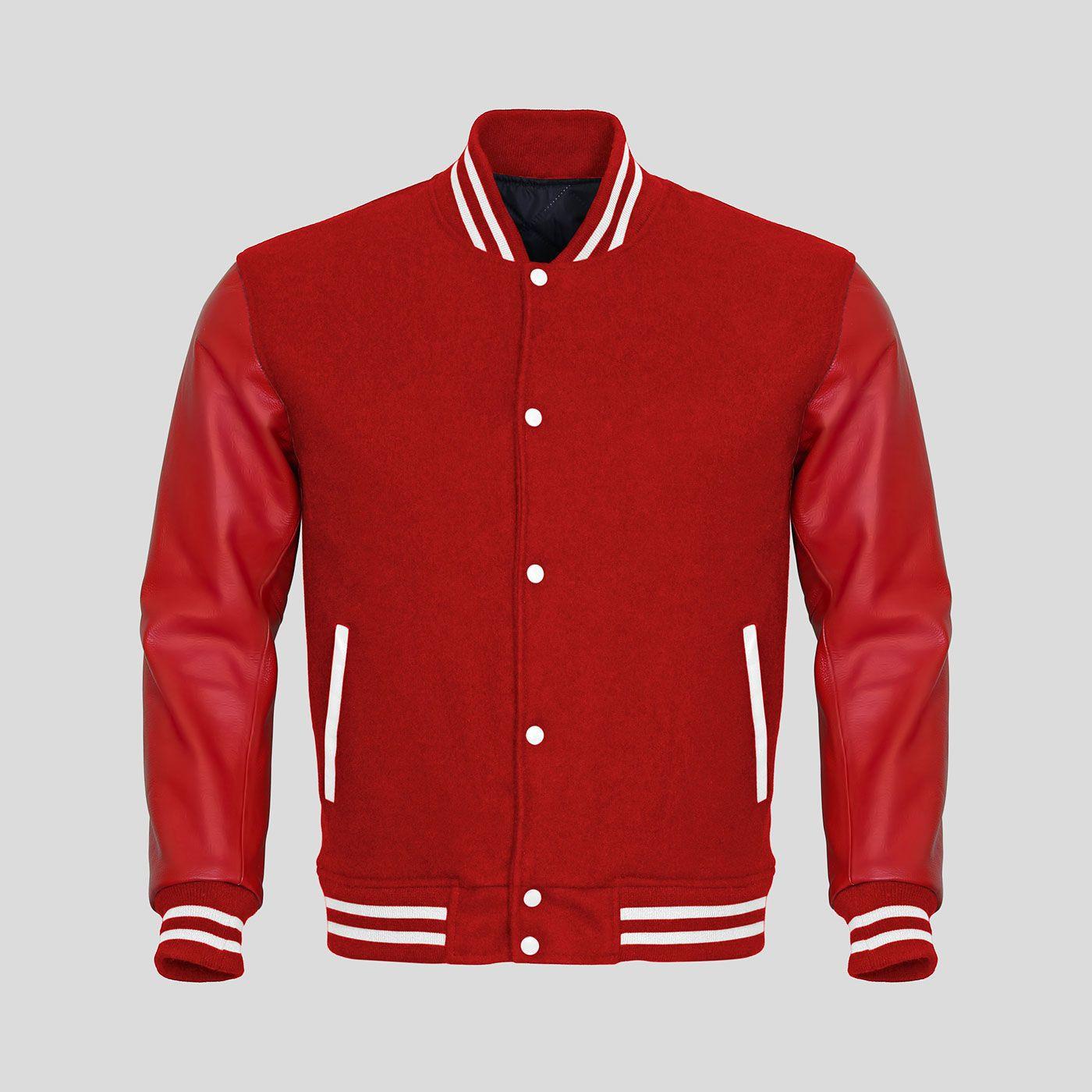 Red Faux Leather Sleeves Red Wool Varsity Jacket Custom