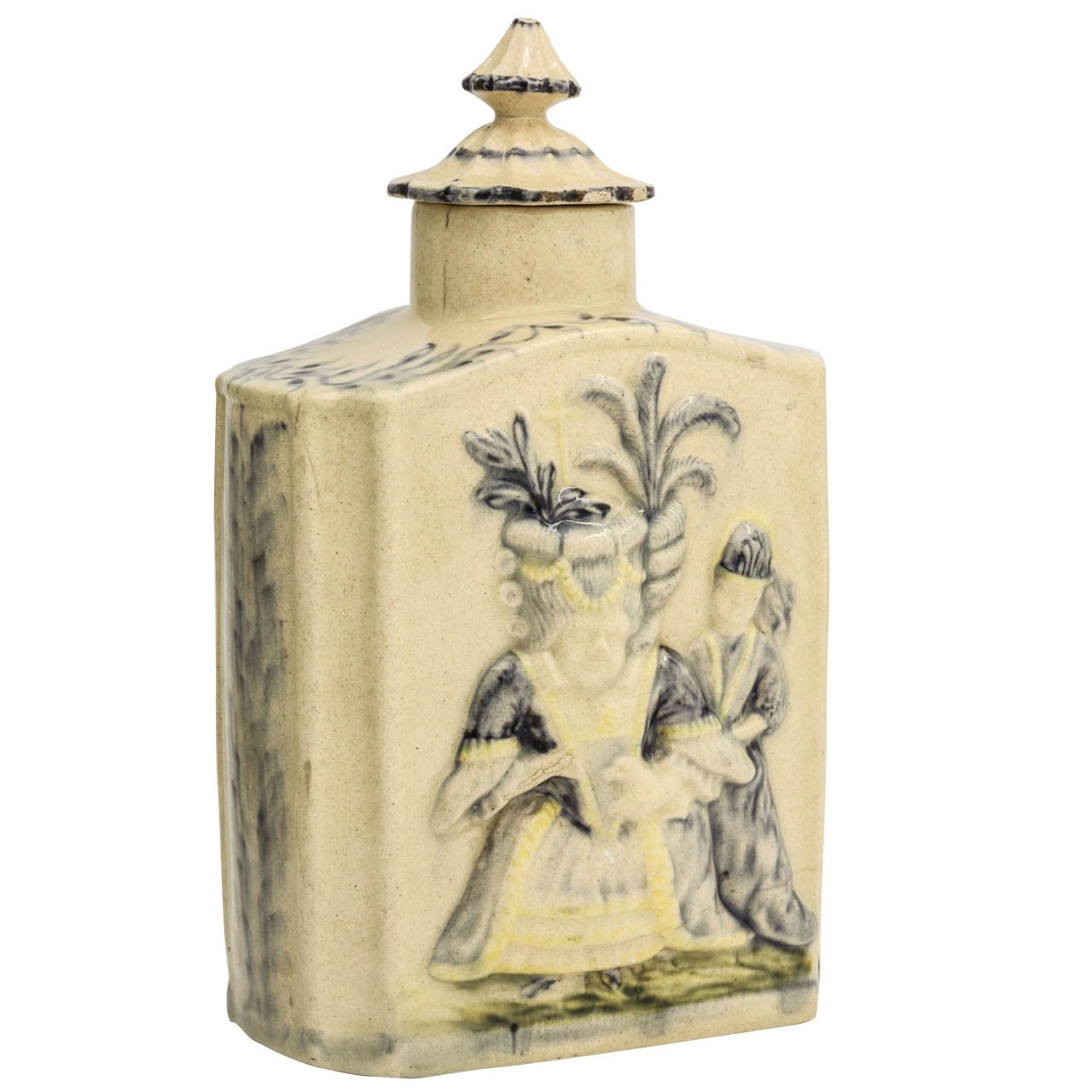 A Fine English Creamware Pottery Covered Tea Caddy With Macaroni Figures | From a unique collection of antique and modern pottery at https://www.1stdibs.com/furniture/dining-entertaining/pottery/