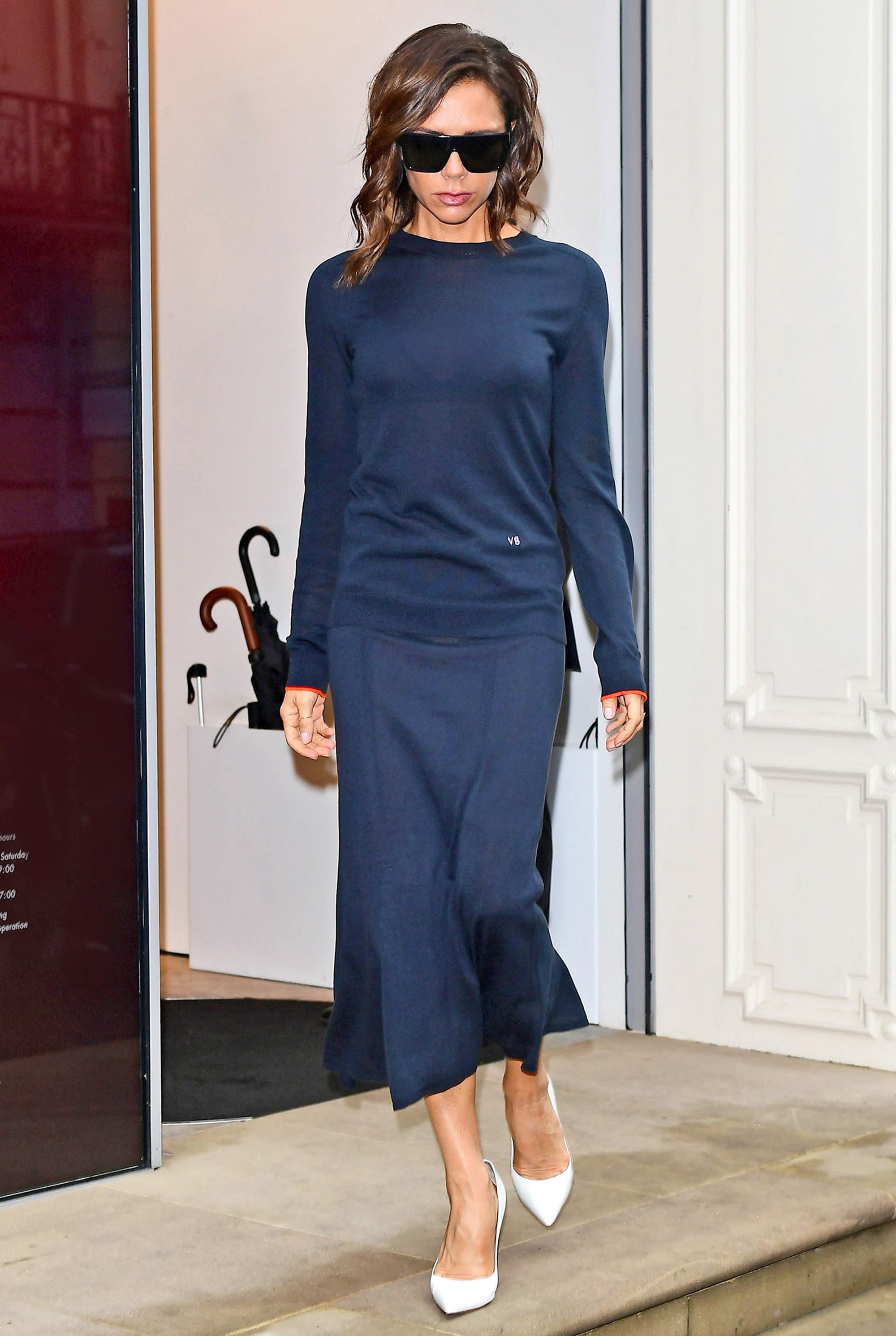 Victoria Beckham Kicks Off London Fashion Week with in Monochromatic Navy from…