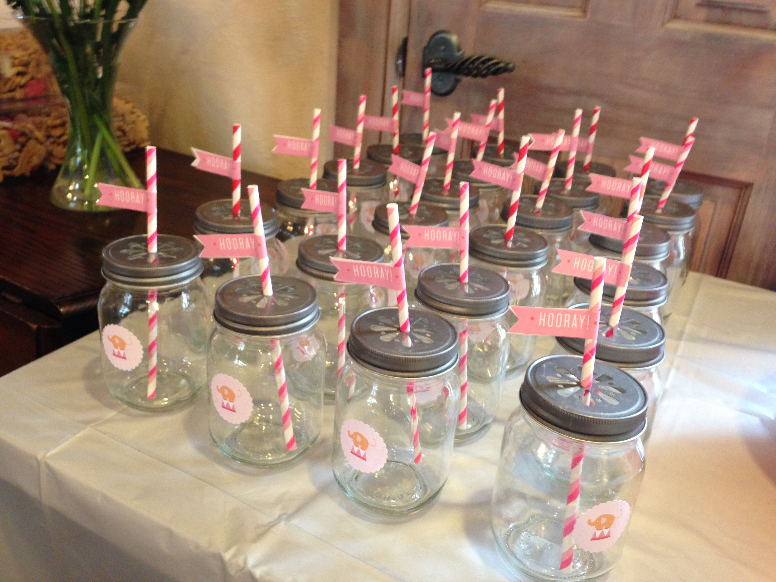 Mason Jar Gles For Elephant Baby Shower