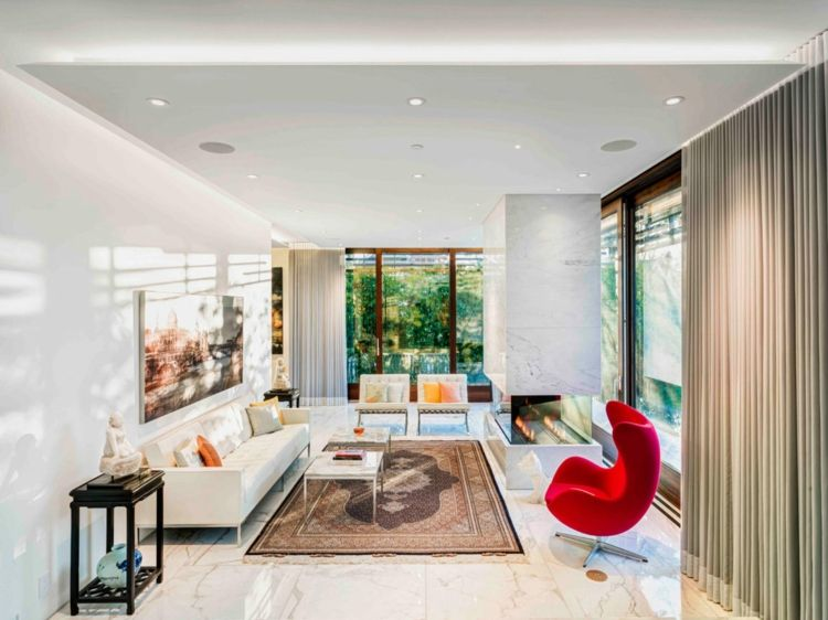 Fliesen Aus Marmor Wohnzimmer Boden Teppich Vorhänge Beige