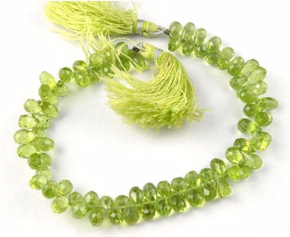 1 Strand Natural Peridot Briolette 4x6-4x9mm Teardrops Drilled Gemstone Beads #Empressbeads