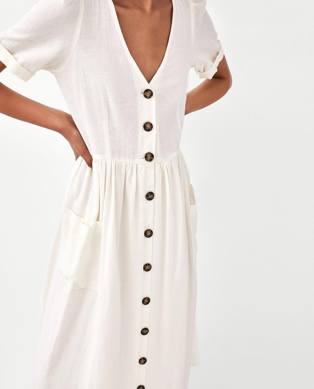 Vestido blanco midi zara