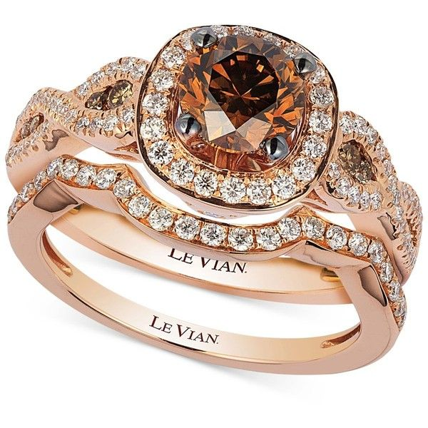 Le Vian Chocolatier Diamond Bridal Set 1 5 8 Ct T W In 14k Rose 6 227 Chocolate Diamond Wedding Rings Diamond Wedding Rings Sets Rings Jewelry Fashion