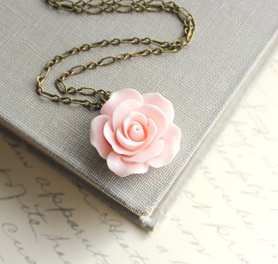 Pink rose necklace country chic flower jewelry pastel fashion floral pink rose necklace country chic flower jewelry pastel fashion floral jewellery bridesmaids gift bridal necklace botanical french style audiocablefo