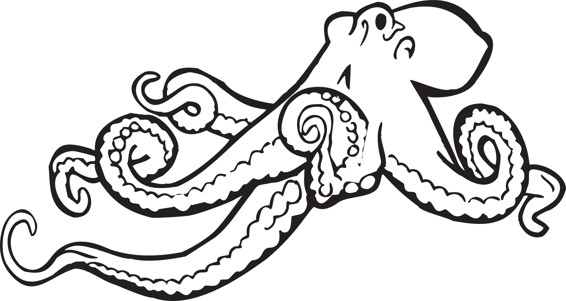 octopus clip art black and white clipart panda free clipart images [ 1979 x 1055 Pixel ]