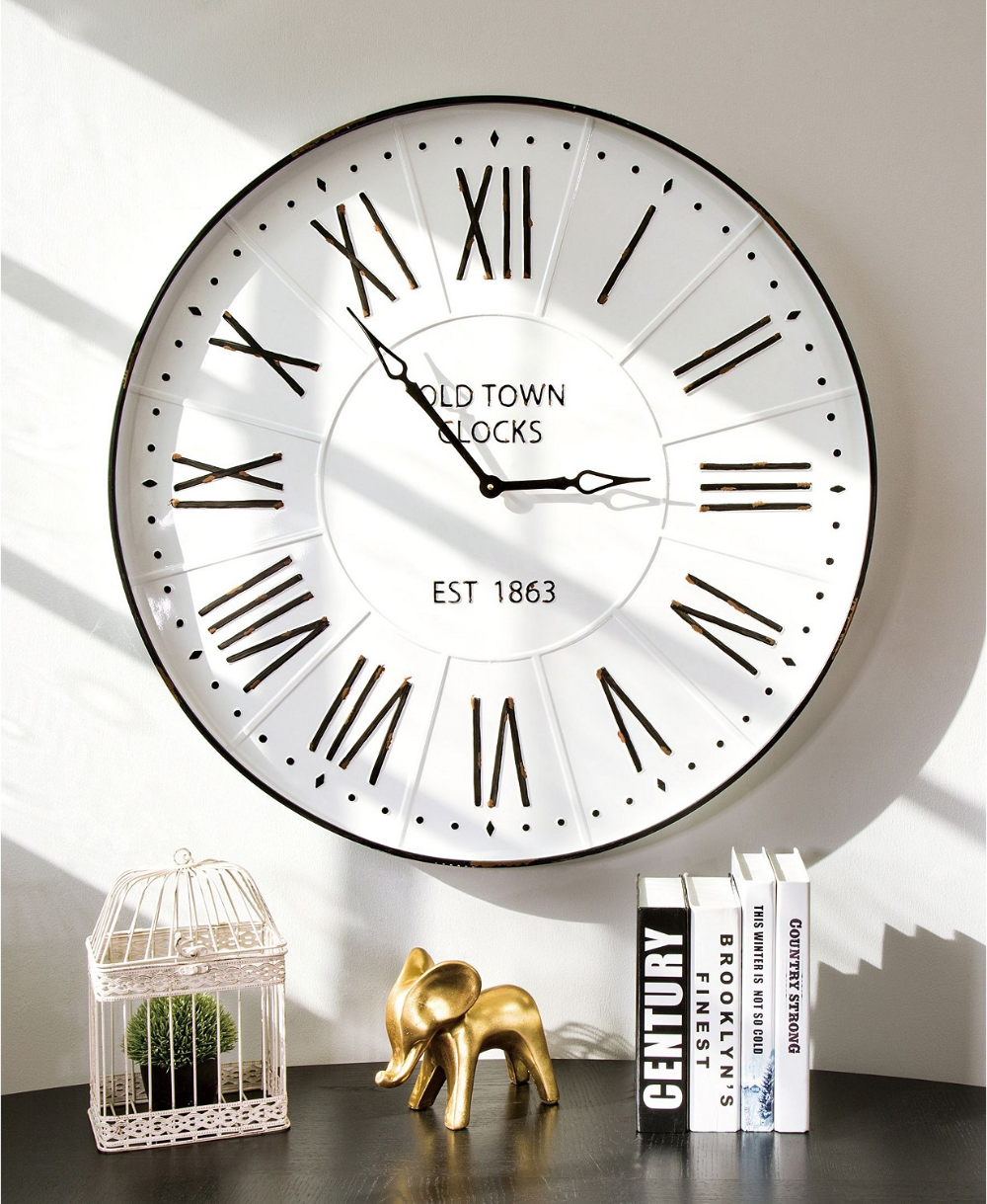 Glitzhome Oversized Farmhouse Metal Enamel Wall Clock Reviews Clocks Home Decor Macy S In 2020 Clock Wall Decor Large Wall Clock Oversized Wall Clock
