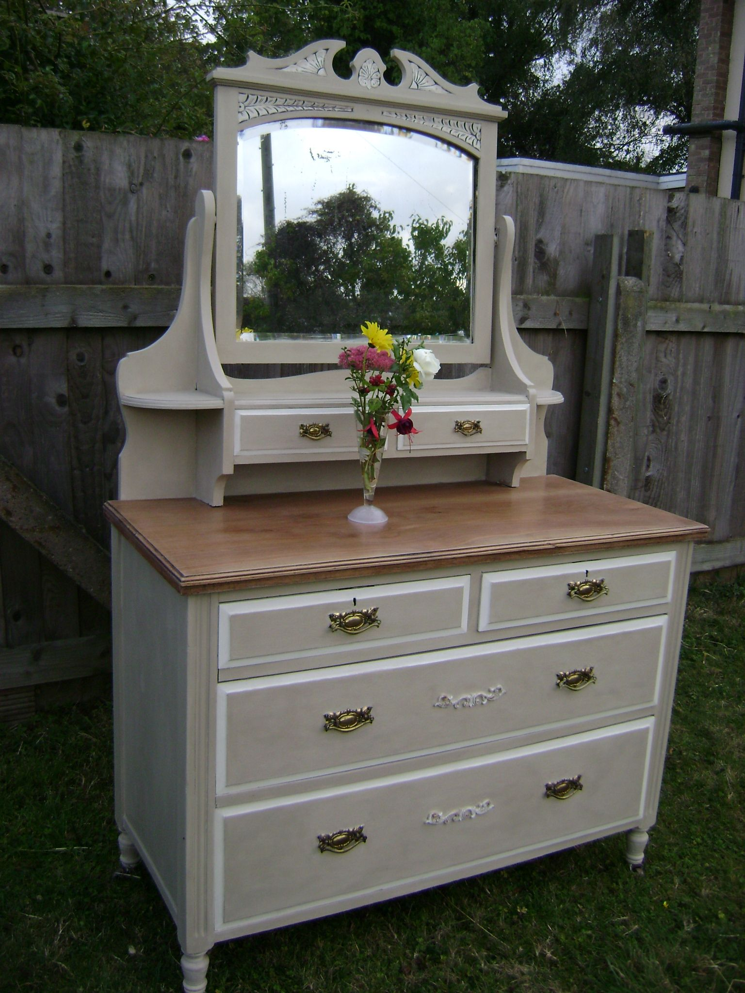 hooker drawers refurbished low drawer wood with dresser century mirrored modern mid nightstand metal