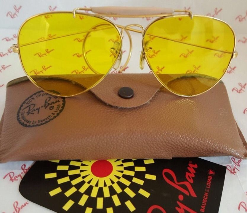 02f94c0b748cf4 VINTAGE AVIATOR OUTDOORSMAN RAY BAN YELLOW KALICHROME B L USA 62MM W CASE   RayBan  Vintage