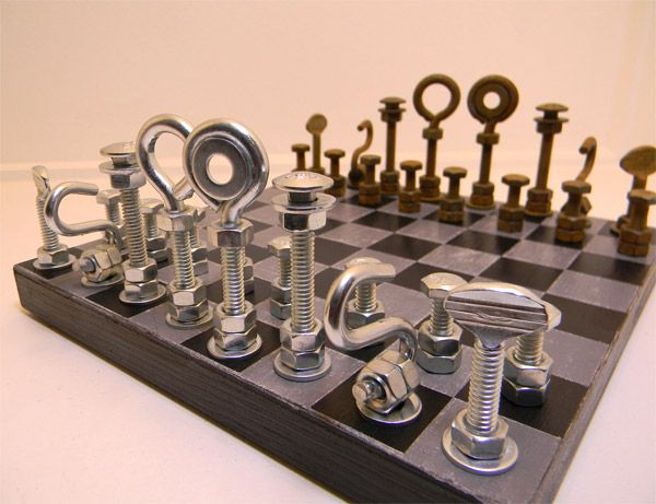 projects ideas metal chess pieces. DIY chess set from the hardware store Hardware Chess Set  this but with board made