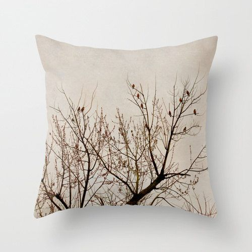 Tree Pillow Beige Brown Decorative Pillow Case Nature Birds Etsy Brown Decorative Pillows Pillows Tree Pillow