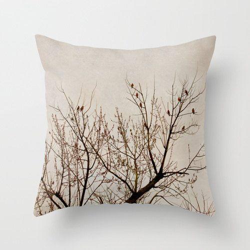 Tree Pillow Beige Brown Decorative Pillow Case Nature Birds Etsy Brown Decorative Pillows Pillows Tree Pillow