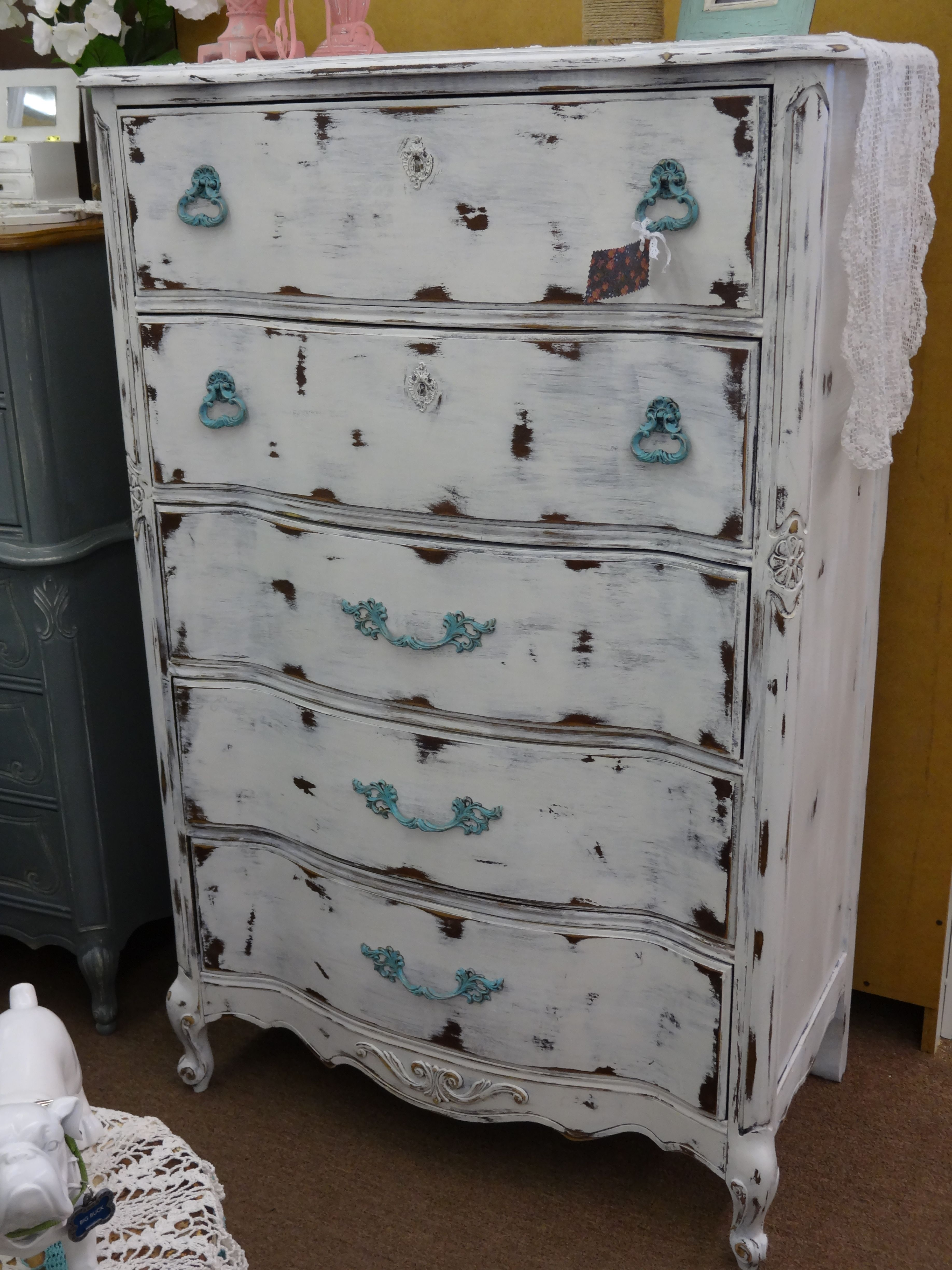 SOLD - Shabby Chic French Provincial Chest of Drawers ***** In Booth B10 at Main Street Antique Mall 7260 E Main St (east of Power RD on MAIN STREET) Mesa Az 85207 **** Open 7 days a week 10:00AM-5:30PM **** Call for more information 480 924 1122 **** We Accept cash, debit, VISA, MasterCard or Discover