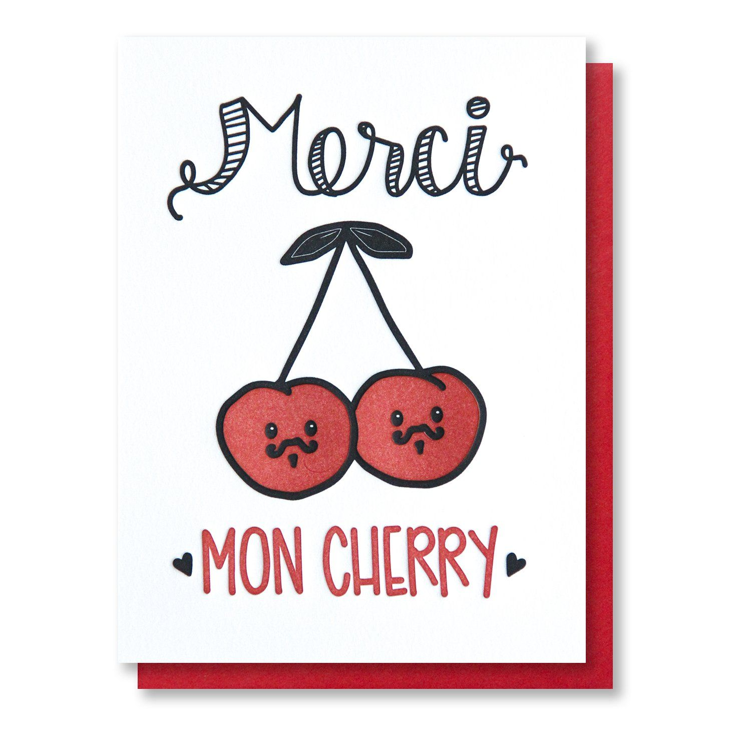 New funny punny thank you letterpress card merci mon cherry funny punny thank you letterpress card merci mon cherry french pun kristyandbryce Choice Image