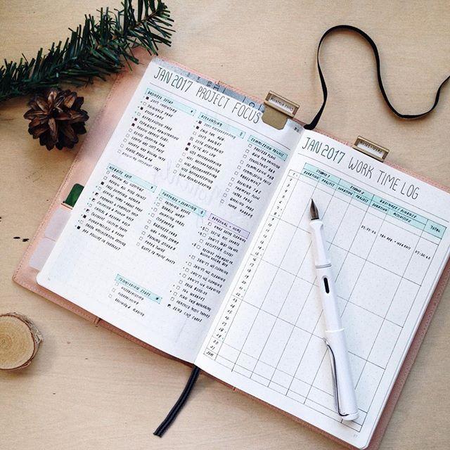 january focus and work time log in my bullet journal to track my