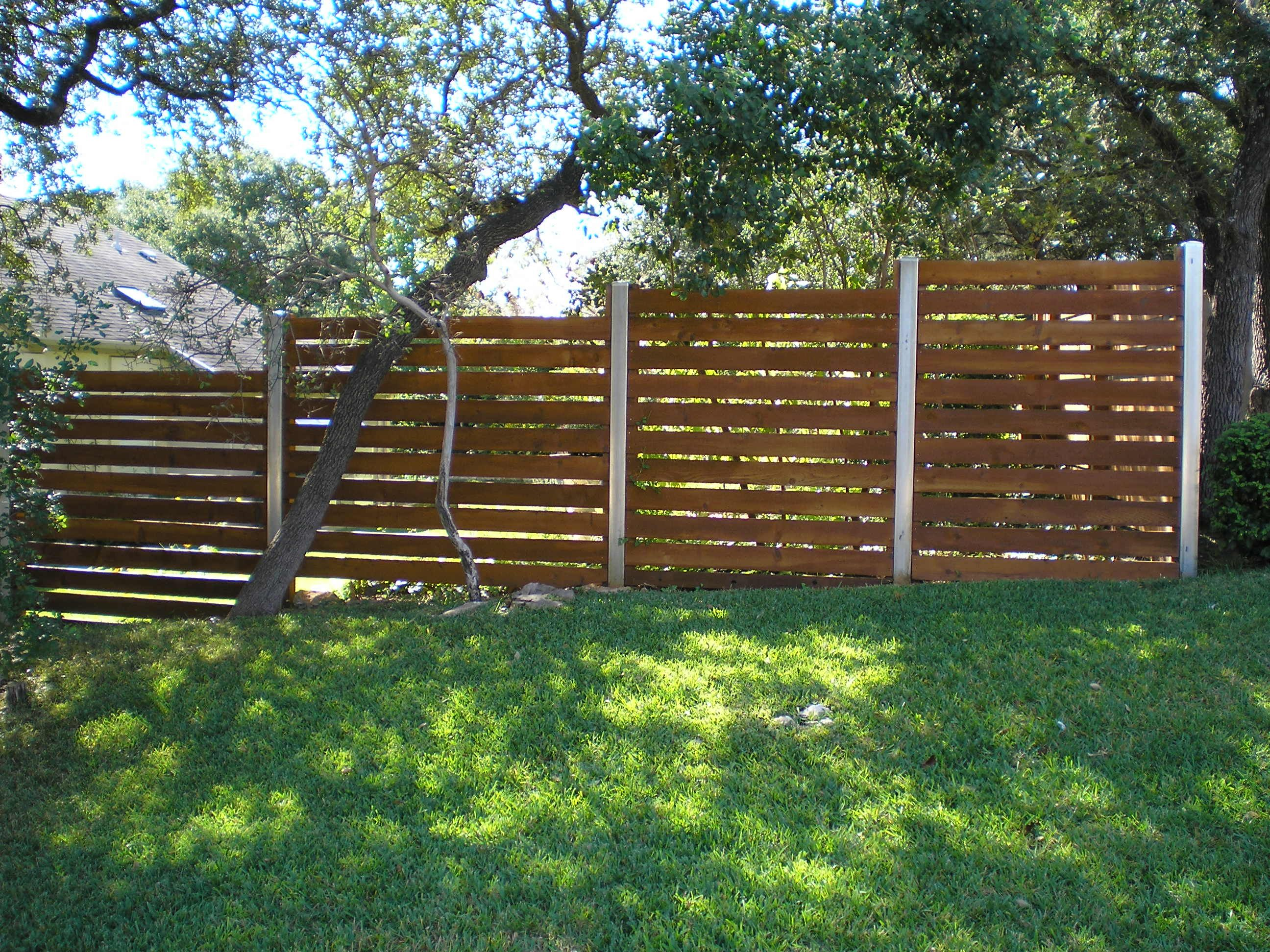 Wood Fences Gallery Viking Fence Horizontal Semi Privacy With Square Galvanized Posts Steel 2 Modern Fence Design Privacy Fence Designs Fence Design